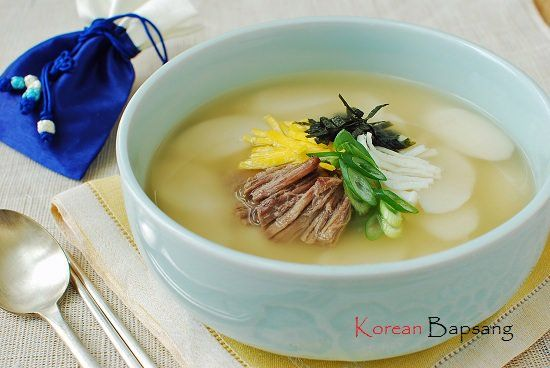 Tteokguk Korean Rice Cake Soup Korean Bapsang Recipe Rice Cake Soup Korean Rice Cake Korean Rice Cake Soup
