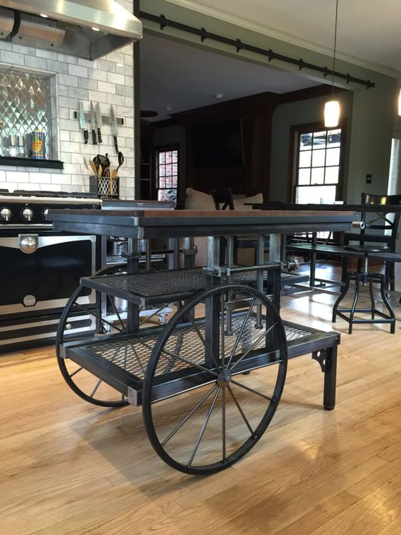Pretzel Logic Vintage Factory Styled Industrial Cart Table Kitchen Island Antique Cart