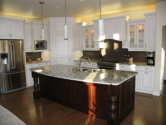 Kitchen cabinets maple arctic white island cabinets cherry cafe mocha countertops for Arctic white kitchen cabinets