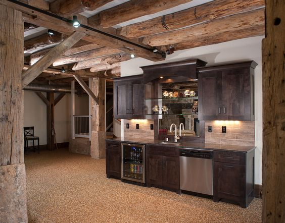 Rustic basement bar home decorating pinterest wine fridge basement bar designs and cabinets - Rustic bar ideas for basement ...