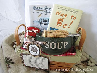 Get-Well Gift Basket ~ things to consider using for this gift... Basket, Bowl & Spoon, Chicken Noodle Soup (it could even be homemade), Crackers, Book (Chicken Soup for the Soul works well with the theme), Blanket, Relaxing CD, Tissues