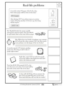 Dividing Decimals Word Problems (2 worksheets) from Reincke15 on ...