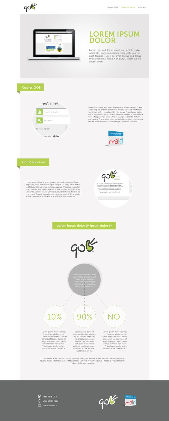 Mini sitio web, website, QOB