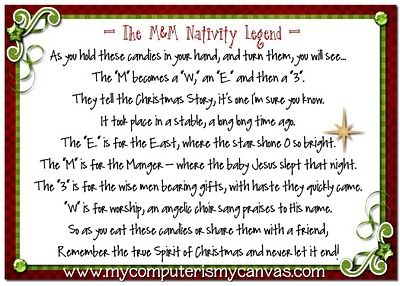 Free Christmas Printables  The M&M; Navity Legend