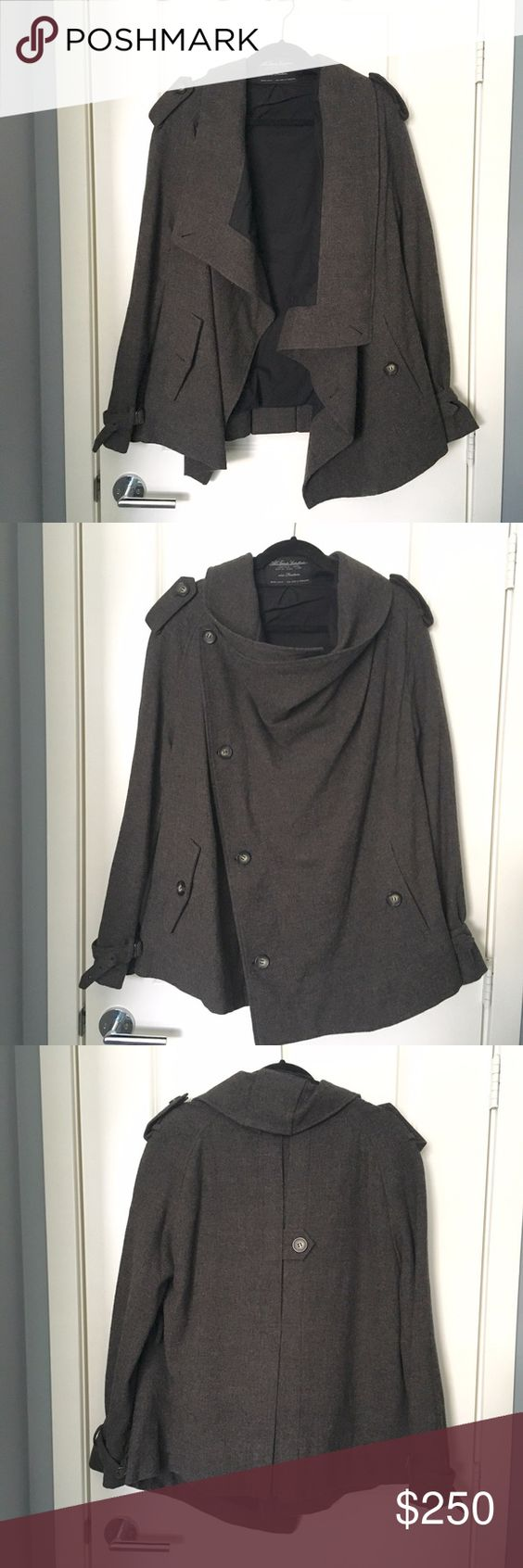 All Saints Wool Trench Coat Size: 14 Fits: like a 10. I am a size 6-8. Color: brown Details: 2 button pockets and button encloser, can be worn 2 ways Condition: Like New Material: wool exterior, cotton inner lining Retail: $468 + tax All Saints Jackets & Coats Trench Coats