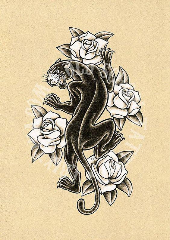 T14. BLACK PANTHER. Tattoo illustration Art tattoo por Retrocrix