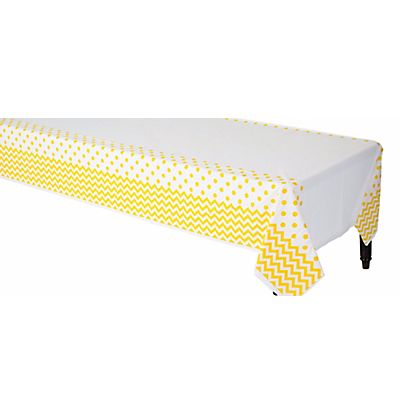 Party City - $3.45 for 108inch x 45inch - Sunshine Yellow Polka Dot & Chevron Plastic Table Cover