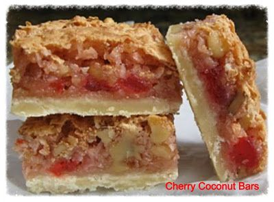 Cherry Coconut Bars..A family favorite that everyone will love. Go to cookiescrumbsandchickens.blogspot.com for the recipe