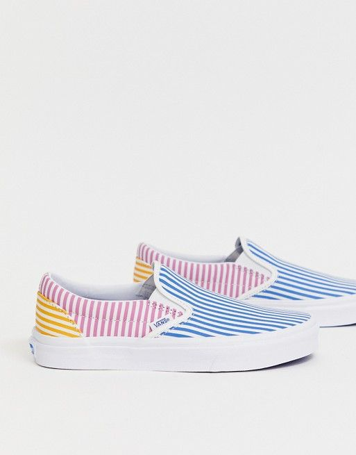 Custom Mens Shoes Classic Colorful Stripes Slip-on Canvas