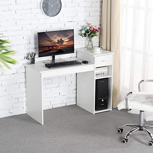 Best Seller Topeakmart Small White Computer Desk Drawers Printer Shelves Wood Study Writing Table Compact Pc Laptop Workstation Small Space Home Office Onli In 2020 Home Office Furniture White Computer Desk