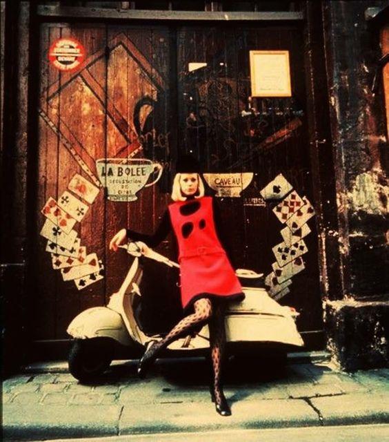 Henry Talbot photography, 1967, model wearing Pierre Cardin's mini dress
