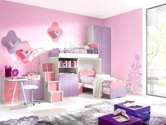 Cameretta rosa e viola per bambina.