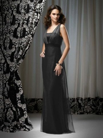 Black Chiffon Sheath Floor-length Bridesmaid / Mother of the Bride Dress with Straps