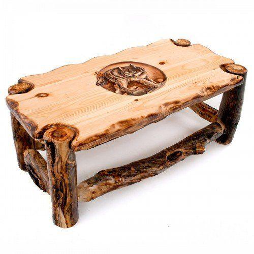 Carved Aspen Wildlife Coffee Table, Aspen Wood Furniture