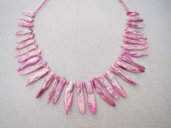 Pink Freshwater Stick Pearl Necklace with Sterling by jazzybeads