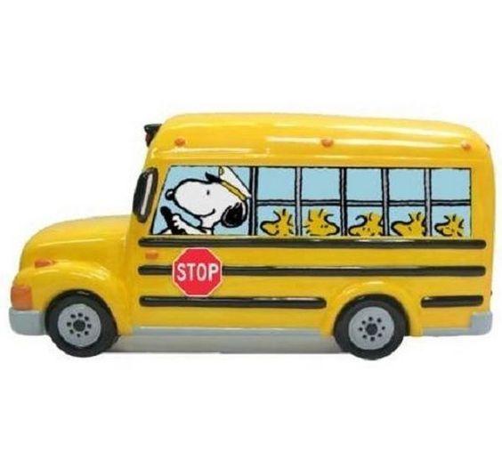 Peanuts Gang Snoopy School Bus Bank Piggy Bank Charlie