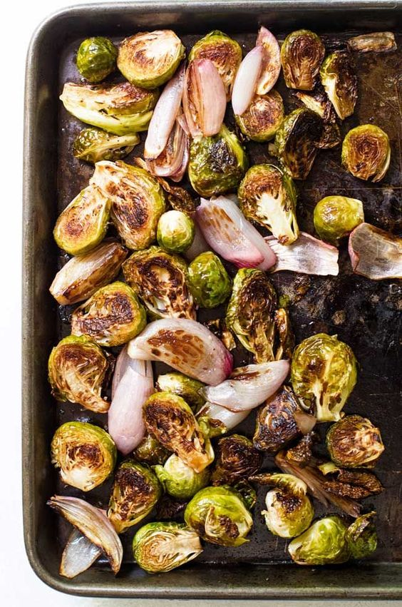 Balsamic Roasted Brussels Sprouts and Shallots