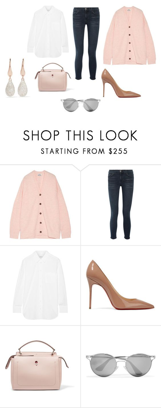 """""""Sin título #11136"""" by ceciliaamuedo ❤ liked on Polyvore featuring Acne Studios, Current/Elliott, Equipment, Christian Louboutin, Fendi, Prada and Monica Vinader"""