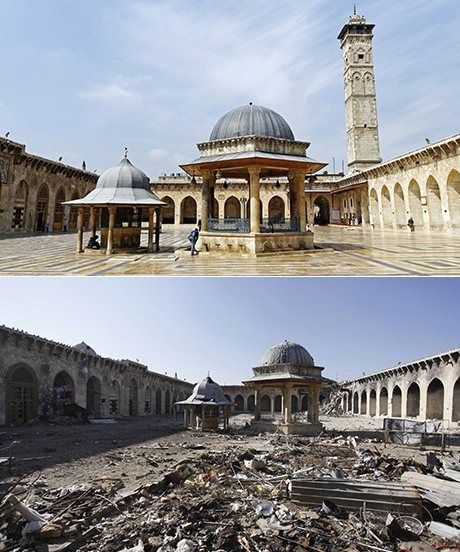 This is a before and after picture of a beautiful building in Syria. Syria is in a civil war right now. As shown in the photo, this war is leaving an incredible toll on the amazing architecture of the country. War is not a pretty thing and it costs a lot to the lives and culture of the area. These people knew the costs before they started the fight but they decided that the cost would be higher if they did not make a stand.