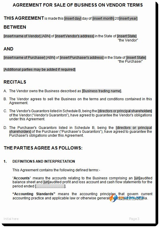 Terms Of Agreement Sample Best Of Sale Of Business On Vendors Terms Agreement Template Contract Template Business Contract Templates Business Contract