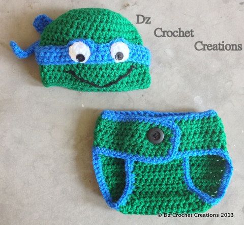 Free Crochet Pattern Turtle Photo Prop : Crochet Ninja Turtle Outfit -- Photo Prop Set -- Hat ...