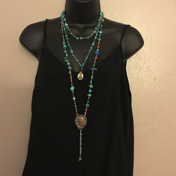 Two layers turquoise necklace with Buddha pendant Handmade necklace Mangalinga Jewelry Necklaces