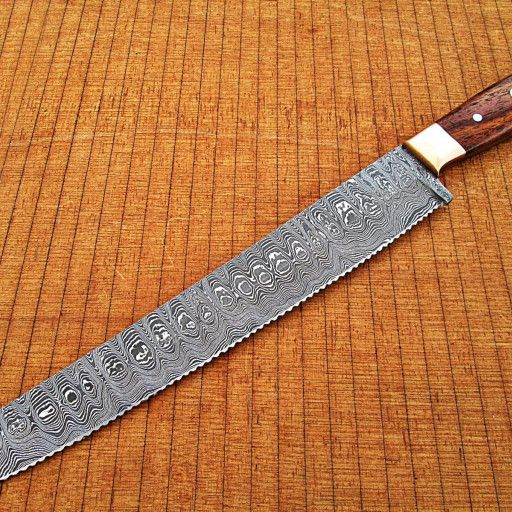 Fine Hand Crafted Damascus Steel Bread Knife Overall Length 15 Inches Handle Material Handle Made Of Rose Wood Mosaic Knife Bread Knife Damascus Steel