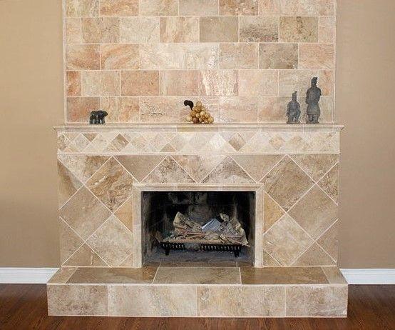 Travertine Patterned Tile Fireplace Fireplace Design Shiplap Fireplace Fireplace Surrounds