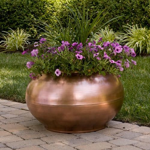 """24"""" Copper Bowl Planter with Decorative Band"""
