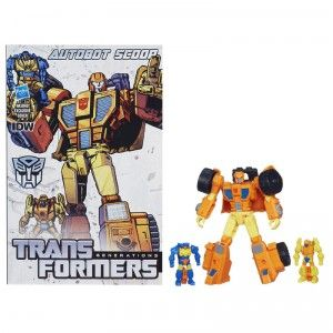 This Transformer transforms from robot mode into a loader vehicle mode. He comes with the Targetmasters, Caliburst and Holepunch.