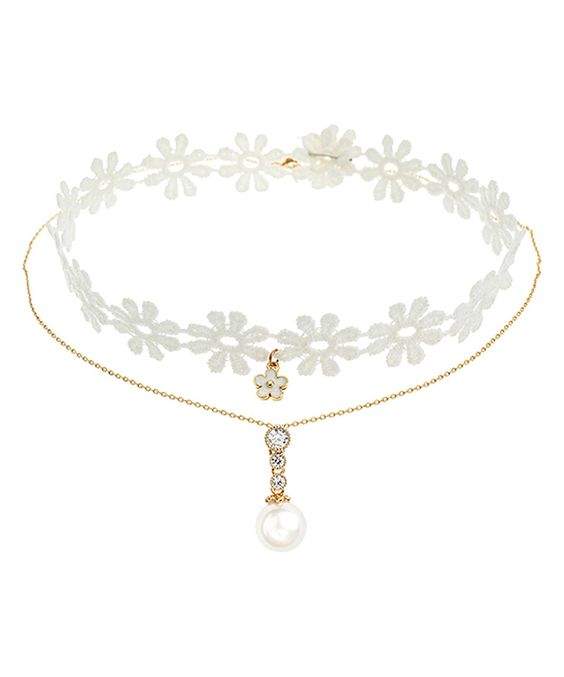 Love this Shell Pearl & White Lace Double-Strand Choker Pendant Necklace by Silver & Co. on #zulily! #zulilyfinds