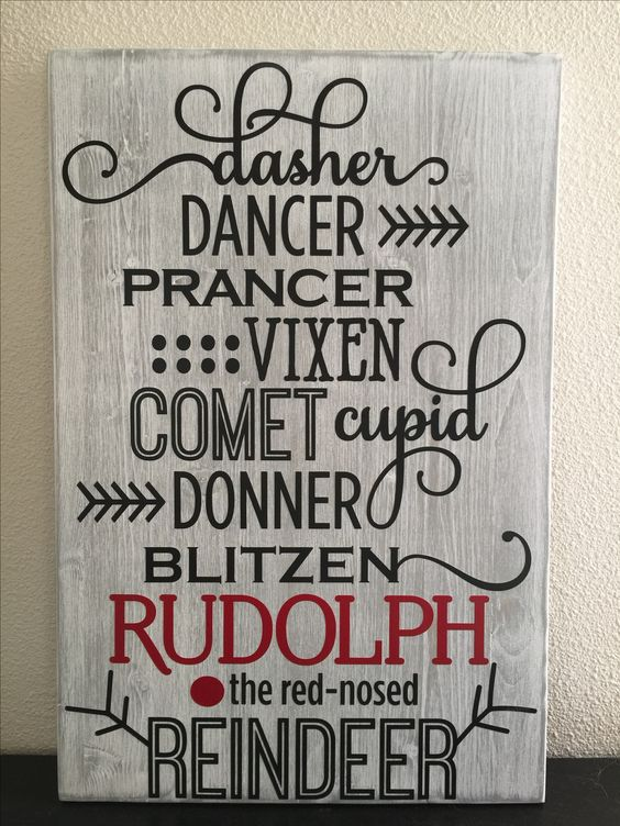 "This sign is 18"" x 12"" done with a white wash paint over grey and black & red vinyls. Visit my store at www.Etsy.com my store name is KrystopherDezyns  Dasher, dancer, pranced, vixen, comet, Cupid, donner, blitzen, Rudolph, reindeer, Christmas, holiday, wood sign, rustic, country, distressed:"