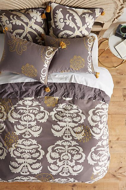 pretty patterned embroidered duvet