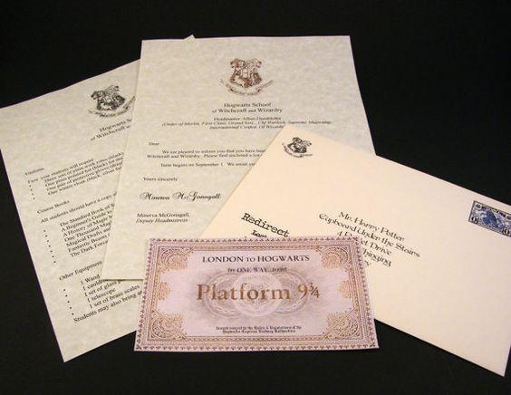 lettre d 39 acceptation de poudlard harry potter hogwarts express ticket personnalis platform. Black Bedroom Furniture Sets. Home Design Ideas