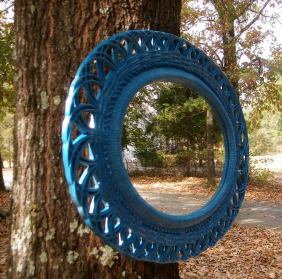 Teal. Nice color! :-X Mirror Syroco Vintage Oval Faux Wicker Frame Upcycled in Teal High Gloss. $84.95, via Etsy.