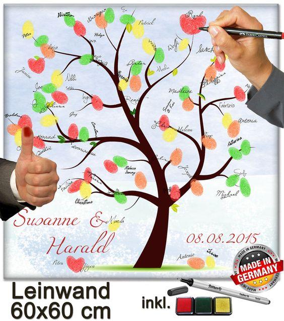 *Der Fingerabdruck-Baum (wedding tree) inkl. Stempelkissen, Pelikan Stift und Anleitung für Gäste zum Aufstellen ist für die Hochzeit ein Gemeinschafts-Kunstwerk der Hochzeitsgäste und wird zum...