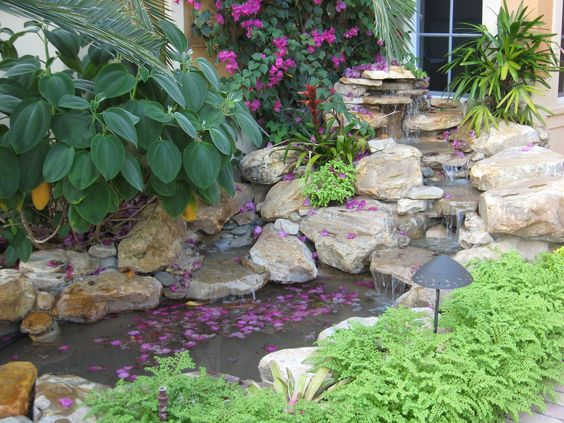Waterfall and pond in front yard garden florida tropical for Front yard fish pond