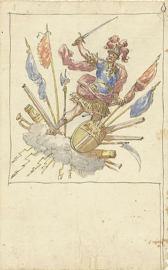 Elias van Nijmegen   Ontwerp voor een banier met Mars, wapentuig en het wapen van Rotterdam, Elias van Nijmegen, 1677 - 1755  