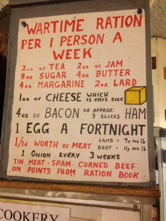 Rationing in WW II. England. How greedy  wouldn't our later generations sound to an elderly person who's been through this? With  today's diets, when we take everything - luxurious food items or not - for granted?: