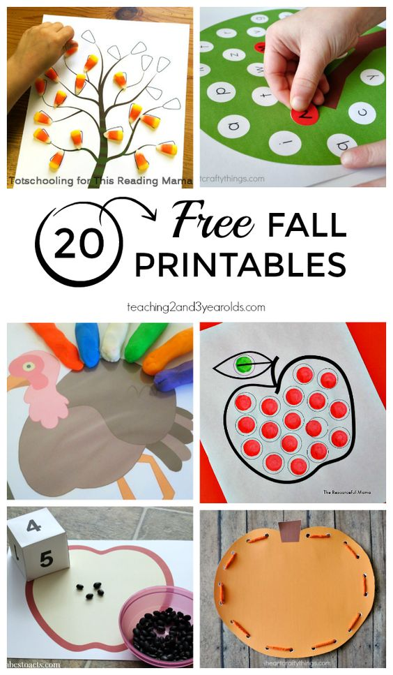 20 Free Printables for Fall - Perfect for home and the preschool classroom! Includes math, literacy, science, music, art, and fine motor. From Teaching 2 and 3 Year Olds