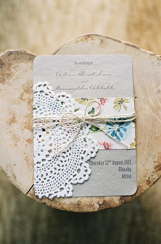 vintage-inspired wedding invitation - DIY with scrapbook paper and ...