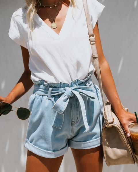 Lonestar Pocketed Paper Bag Waist Denim Shorts Light Wash Final Sale Fashion High Waisted Shorts Denim Outfits
