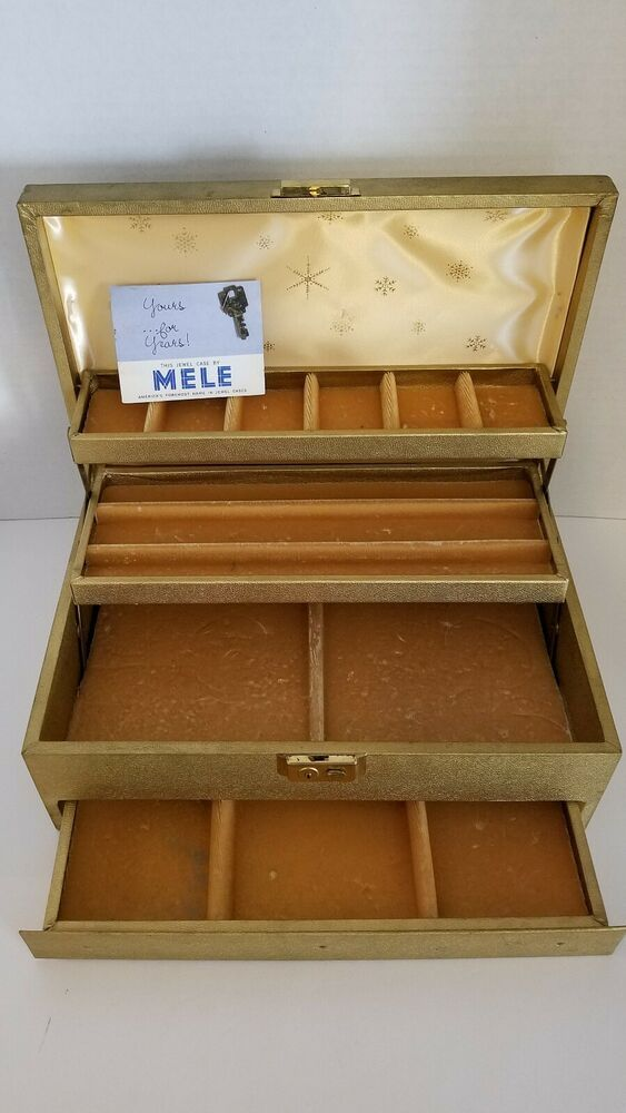 Vintage Gold Mele Jewelry Box 3 Tiers Original Key Paperwork Jewel Box Usa Mele Mele Jewelry Box Leather Jewelry Box Jewelry Box
