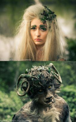 Final Year film project, custom made wig, with handknotted front hairline, and monster  with custom made prosthetics