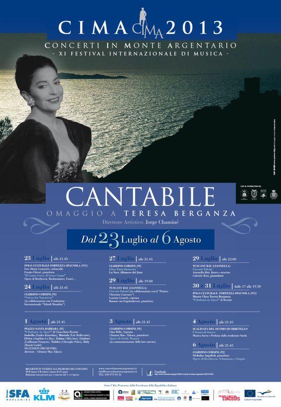 Manifesto del XI festival internazionale di musica CIMA, Concerti in Monte Argentario.