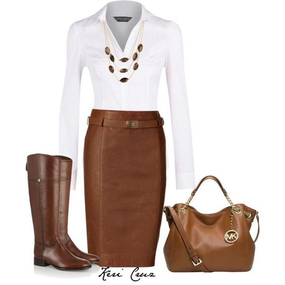 White Shirt and Brown Leather Skirt