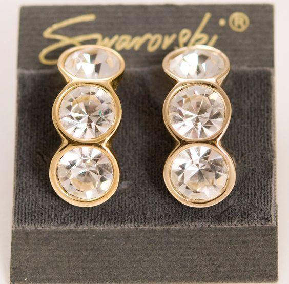 Swarovski Crystal Clip On Earrings - Signed Mint
