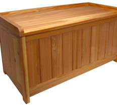 Perfect for a deck, patio or pool area, this solid-cedar bench is designed to provide comfortable seating and ample storage.