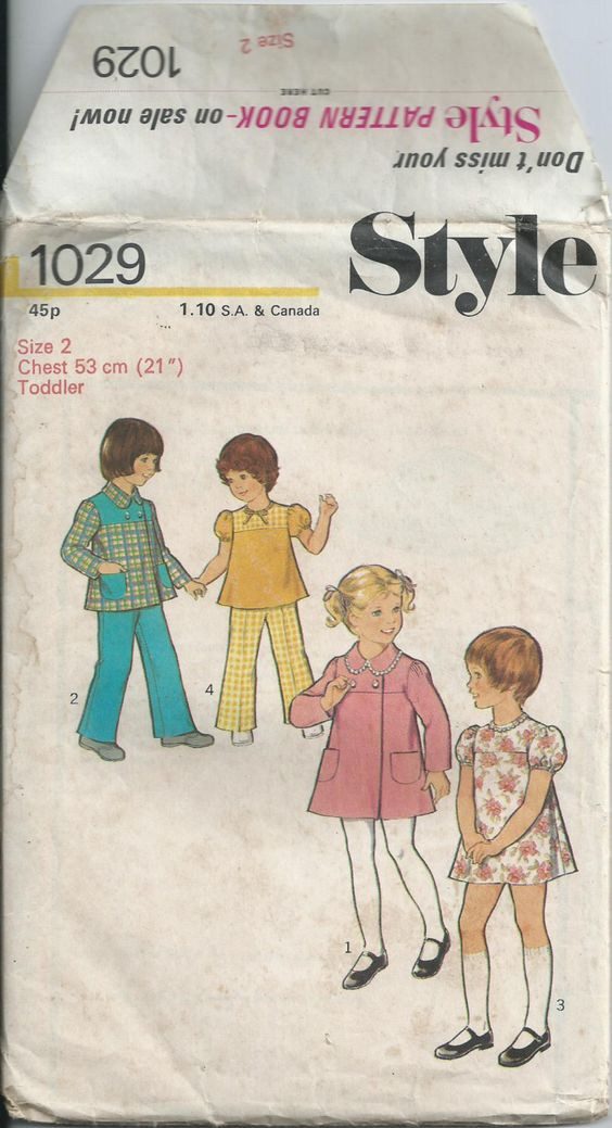 Toddlers' Coat, Dress, Top & Trousers - Size 2 - Style Pattern 1029 - 1975 by LouisasNeedle on Etsy