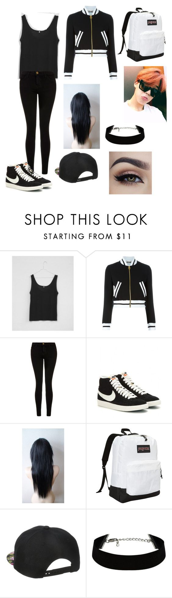 """""""Jimin girl version"""" by bts-trash ❤ liked on Polyvore featuring Base Range, Moschino, Current/Elliott, NIKE and JanSport"""